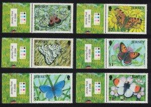 Jersey Butterflies and Moths 2nd series 6v Margins Traffic Lights SG#1279-1284
