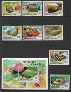 ZAIRE 974-981a MNH TROPICAL FISH SET WITH SOUVENIR SHEET 1980
