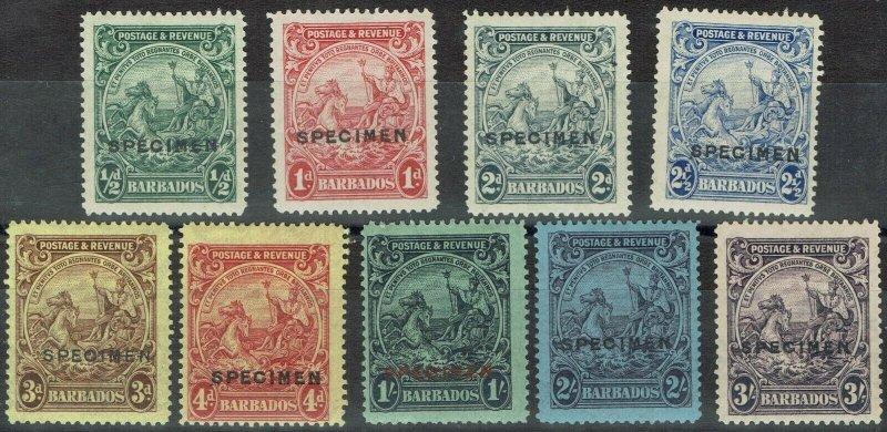 BARBADOS 1925 KGV SEAHORSES RANGE TO 3/- SPECIMEN