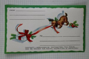 Christmas Parcel Post address label gift wrapping postal puppy dog vintage Mint