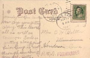 United States Iowa Macedonia 1911 duplex with violet sl Forwarded  PC.