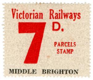 (I.B) Australia - Victoria Railways : Parcel Stamp 7d (Middle Brighton)