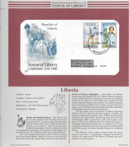 Statue of Liberty Liberia #1046-47. 1986  FDC with write up.