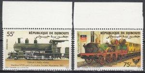 Djibouti, Sc 597-598, MNH, 1985, Locomotives