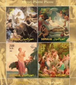 Somalia 2004 Henri-Pierre Picou Famous Nudes Paintings Sheetlet (4) MNH VF