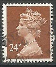 GREAT BRITAIN, Machins, 1991, used 24p brown, Scott MH126