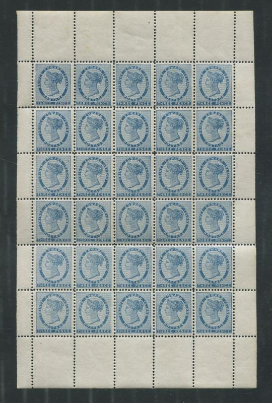 Prince Edward Island #6 3c Blue 1862 Pence Issue Complete NH Sheet of 30 - VF-75
