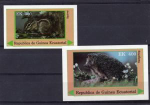 Equatorial Guinea 1977 RODENT SQUIRREL HEDGEHOG (2) s/s Perforated Mint (NH)