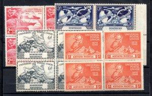 Northern Rhodesia 1949 UPU MNH block set WS16503