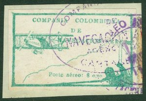 EDW1949SELL : COLOMBIA 1920 Scott #C11 Tied to piece. Very Fine, Used. Cat $92.
