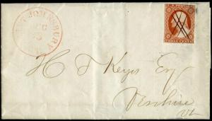 #10 RED; ST. JOHNSBURY, VT 1853 CNL ON COVER BM7219