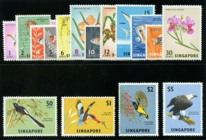 Singapore 1962 QEII Birds & Orchards set complete MLH. SG 63-77.