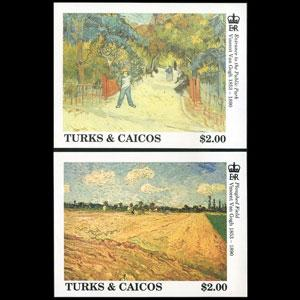 TURKS & CAICOS 1991 - Scott# 941-2 S/S Van Gogh Ptgs NH