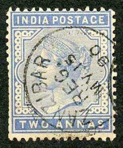 Zanzibar SGZ85 1882-90 India 2a Blue 15 May 90 with CDS (type Z6) Used