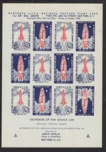 ASDA sheet of 12 Missile Age Poster stamps in red for 1959  Stamp Expo - I