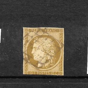 FRANCE  1849-52  10c  BROWNISH BISTRE  CERES  FU    SG 3