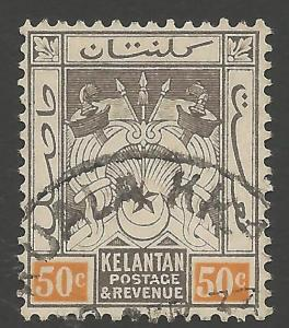 MALAYA KELANTAN SG22 1925 50c BLACK & ORANGE FINE USED