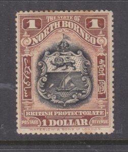 NORTH BORNEO, 1911 $ 1.00 Black & Chestnut, perf.13 1/2-14, lhm.