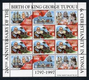 Tonga SG1405/8 1997 Bicentenary U/M Sheetlet of 12