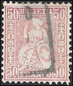 1867 SWITZERLAND  SC# 59 USED F SMALL FAULT CV $75.00