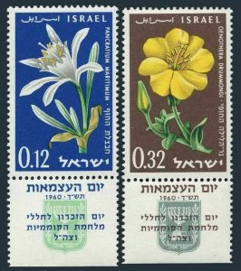 Israel 180-181-tab two sets,MNH.Michel 214-215 zf. Memorial Day, 1960. Flowers.