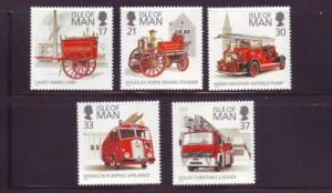 Isle of Man Sc  477-81 1991 Fire Engines stamp set mint NH