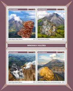 MOZAMBIQUE - 2017 - Minerals and Volcanoes - Perf 4v Sheet - MNH