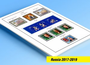 COLOR PRINTED RUSSIA 2017-2019 STAMP ALBUM PAGES (63 illustrated pages)