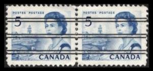 CANADA 1967 QEII 5c 458 (458xx) BLUE SCARCE PRECANCEL PAIR VERY FINE SEE NOTE