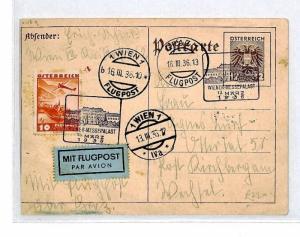 AUSTRIA Air Mail 1936 *WEINER.MESSE.PALAST* Vienna Stationery Card CQ159