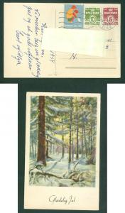 Denmark. Christmas Card 1954 With Seal + 5+ 10 Ore. Copenhagen. Forest in Snow.