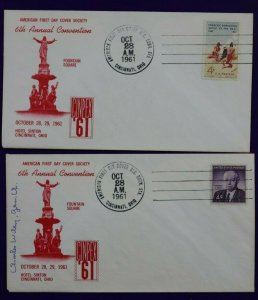 American FDC Society CINEPEX 1961 Philatelic Expo Cachet Cover Artist Signed