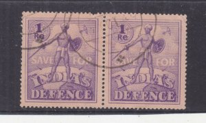 INDIA, WWII  Save for Defence, 1r. Purple, pair, used.