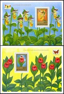 Mongolia Sc# 2278-2279 MNH Souvenir Sheet 1997 Butterflies & Orchids