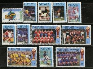 NEVIS WORLD CUP SOCCER '86 SCOTT #477/88  MINT NEVER HINGED-SCOTT VALUE $10.00