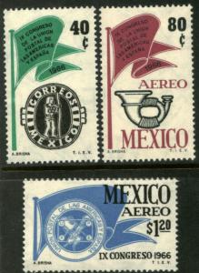 MEXICO 970,C314-C315 Cong Post Union Americas & Spain NH(866