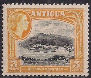 Antigua 1953 – 62 QE2 3ct Yellow & Black MM SG 123 ( L1405 )