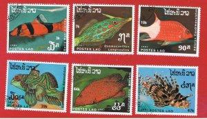 Laos #820-825  VF used  Fish  short set   Free S/H