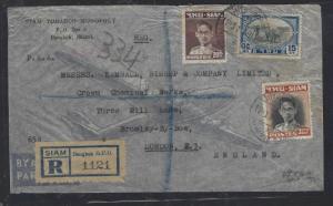 THAILAND (P1512B)  1939  KING 20 STG+ 15 STG+3B  REG A/M  TO ENGLAND