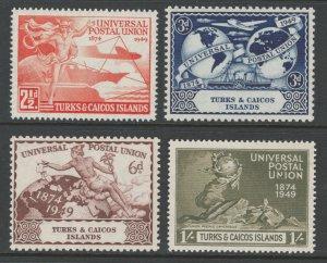 Turks & Caicos 1949 UPU Omnibus Issue Scott # 101 - 104 MNH