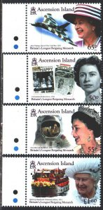 Ascension. 2015. 1285-88. Queen of England, space, aviation. MNH.