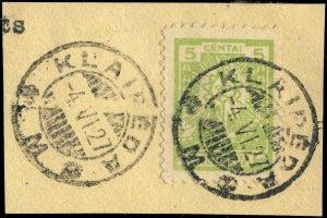 LITUANIE / LITHUANIA - 1927 - Klaipeda/M (Memel)  cds on Mi.216 on piece