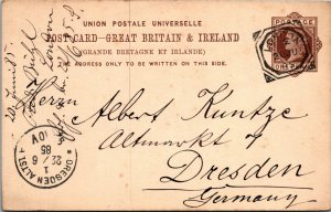 London > Dreseden Ger 1885 UK postal stationery postcard German