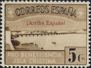 ESPAGNE / SPAIN / ESPAÑA ISLA CRISTINA (HUELVA) 5c (Arriba España) Sofima #18 **