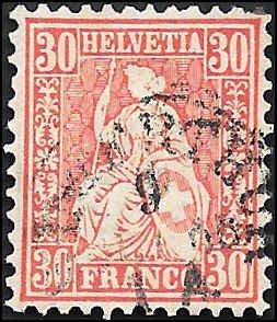 1862 SWITZERLAND  SC# 46 USED VF SOUND CV $70.00