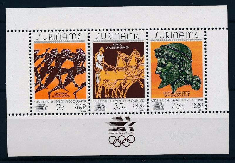 [63219] Suriname 1984 Olympic Games Los Angeles - Athletic  Horse Sheet MNH