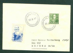 Sweden. 1947 Cover. Spc. Cancel: Kalmar  + Poster Stamp. Peace Sc# 383. Adr.