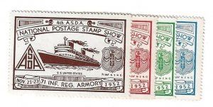 1952 4th A.S.D.A. National Postage Stamp Show 71 INF REG Armory N.Y. MNH Set/4