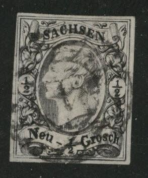 Saxony Scott 9 nice four margin stamp OK color and cancel