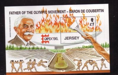Jersey Sc 760 1996 £1 Olympic Flame stamp sheet mint NH